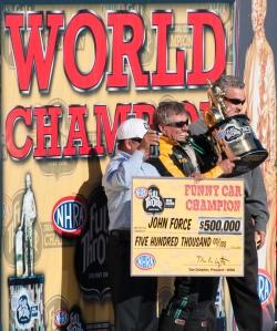 John Force World Champion 2010 NHRA Auto Club Finals
